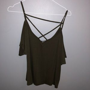 army green Charlotte Russe cold shoulder blouse
